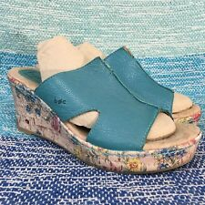 B.o.c. Born Blue Leather Womens 10 Slide Floral Wedge Sandals Pink Flower Shoes