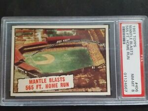 1961 Topps Mantle Blasts 565 #406 PSA NM-MT 8 Dazzling! Perfect Centering! Rare!