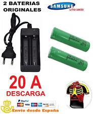 2 x BATERIAS LITIO SAMSUNG INR18650 + CARGADOR DOBLE 2.500 mAh 3.7V 20A 18650
