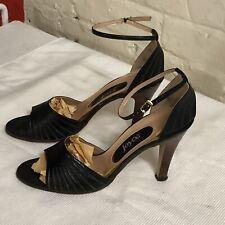 Vtg 70s Joyce 9N Black Heels Open Toe ankle strap