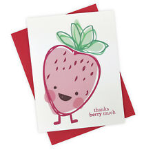 Thanks Berry Much Illustrated Handmade Thank You Card with Strawberry Pun