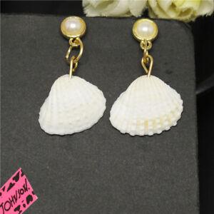 New White Ocean Shell Dream Pearl Girl Betsey Johnson Women Stand Earrings