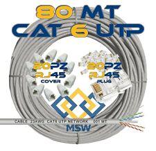 CAVO DI RETE LAN 80 METRI CAT6 UTP CON % RAME + PLUG COVER NVR DVR ROUTER FIBRA