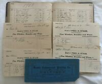 1898 FRED H. STAAB LIQUOR DEALER LEDGER & RECEIPTS - MT. VERNON, NEW YORK