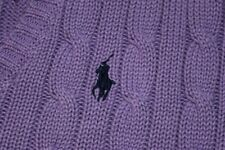 Ralph Lauren Sport V Neck Cable Knit Sweater Polo Pony Light Purple Womens M