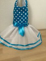 Blue and white polka dots  dog dress
