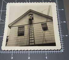UP THE LADDER Window Backside Climb House Vintage Vernacular Snapshot PHOTO