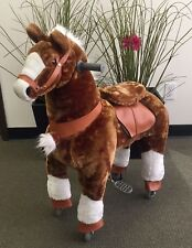 BRAND NEW Brown plush Giddy Up Horse Ride-on scooter (age 4-10yrs (02F) USA ship
