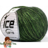 Rock Star Ice Yarn DK GREEN Merino Wool Acrylic Worsted #4 Weight 196y Metallic