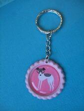 Handmade Greyhound Dog Keyring Bottle Cap Puppy Bag Charm Lurcher Whippet Pink