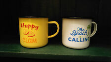 Enamelware Cups Mugs Beach Themed by Big Sky Carvers Beach is Calling Happy Clam