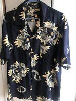Tommy Bahama Mens 100% Silk Shirt Black S/s Hawaiian Button Up Size Medium M