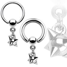 316L Surgical Steel Captive Bead Ring with Multi Spiked Ball Dangle
