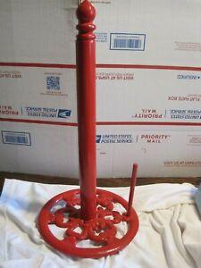 "16"" Paper Towel Holder Red Enameled Metal Heavy Countertop Free Standing"