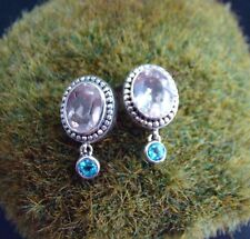Sterling Silver .925 Handcrafted Rose Quartz & Blue Topaz Earrings