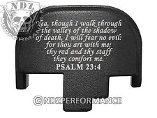 for Smith Wesson S&W M&P 9 40 45 Rear Slide Back Plate Blk Bible Psalm 23:4