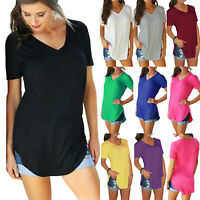 Womens Short Sleeve T Shirts V Neck Tunic Long Tops Blouse Loose Basic Casual