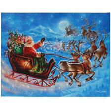 """24"""" x 18"""" Santa FLYING with His Reindeer LIGHTED PRINT RAZ Imports NEW FaBuLouS!"""