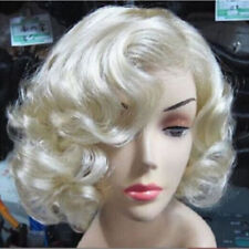 Women Short Light Blonde Wavy Curly Hair Cosplay Marilyn Monroe Party Wigs