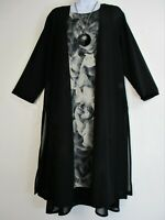 Saloos Black & Grey Lined Layered Dress and Sheer Jacket Sizes:12,14,16,18,20,22