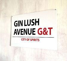 Gin exuberante Avenue bebidas Cocktails Letrero De Calle A4 Placa De Metal Shabby Chic