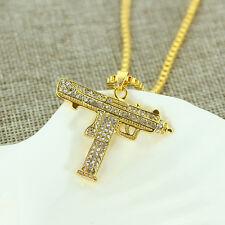 "Gold Uzi Pendant Hip-Hop 24"" Chain Necklace Chain Crystal  Machine Gun b"