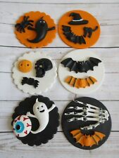 Edible Halloween Cupcake Toppers Ghosts spiders bats black cat witches pumpkins.