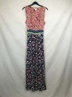 Monsoon ladies maxi dress sleeveless floral blue mix size 10 003