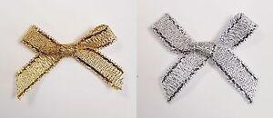 Small 3cm Pre Tied Metallic Lurex Mini Bows - Pack 1, 10, 25 or 100 - 6mm Ribbon