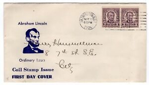 #600 Lincoln 3c Coil First Day Cover 1924 Washington DC Planty #2 to Hammelman