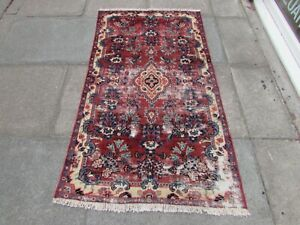 Shabby Chic Worn Vintage Hand Made Traditional Red Wool Small Rug 165x93cm