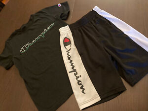 Champion Boys T-Shirt Script Logo + Shorts Athletic Fit ClassicBlack White M