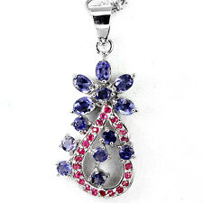 BEWITCHING NATURAL TOP RICH BLUE VIOLET IOLITE-RED PINK RUBY 925 SILVER PENDANT