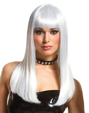 Mademoiselle Lady Gaga Long Platinum White Straight Womens Halloween Costume Wig