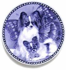 PAPILLON & PUPPY: DANISH BLUE PORCELAIN PLATE #3013