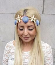 Gold Cream Blue Real Starfish Sea Shell Headband Hair Crown Mermaid Costume 2485