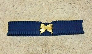 Lilly Pulitzer Women's Navy Ruffle Jeweled Bow Buckle Stretch Wide Belt EUC