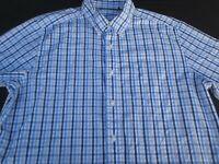 Nautica Mens Button Front Short Sleeve Cotton Plaid Logo Shirt Large L