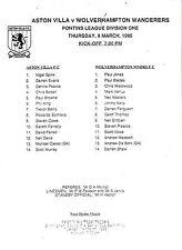 Aston Villa Home Team Football Reserve Fixtures