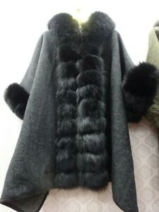 Fur Coats Cashmere Poncho Shawl Cape Real Fox Fur Collar Stole Wraps Loose Style