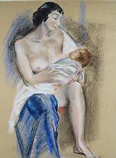 California Artist ARDEN LANHAM (1914-2010) Mother Child Pastel Painting