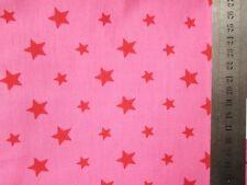 Reststück 2m Baumwollstoff große + kleine Sterne rot auf hellpink Rest