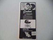 advertising Pubblicità 1966 CARROZZINA PASSEGGINO GIORDANI FIRENZE