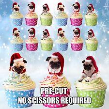 Formato de Navidad Santa Pugs Comestible Cupcake Toppers Torta Decoraciones Paquete de 12