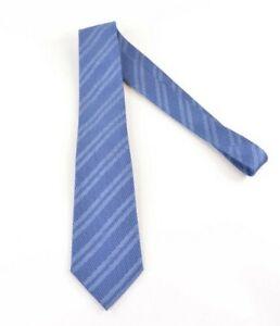 Ermenegildo Zegna NWT Silk Neck Tie In Textured Light Blue Stripes Current