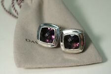 David Yurman 925 Silver Purple Amethyst 11 mm Large Albion Earrings With Pouch