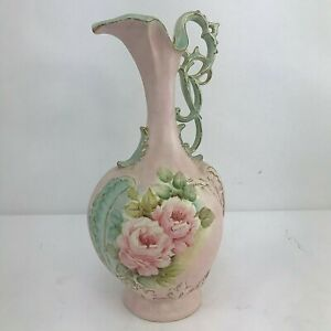 """Antique Victorian Hand Painted Water Pitcher 13"""" Pink with Pink Roses EUC"""