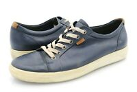 Ecco Mens 8.5 Blue Leather Comfort Lace Up Sneaker Shoes EUR 42