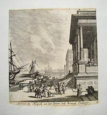 Neapel Napoli Hafen Königspalast M. Küsell Nach J. Baur Kupferstich 1682