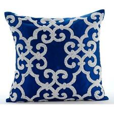 Throw Pillowcase 20x20 inch Blue Designer, Silk Bead - Royal Arabic
